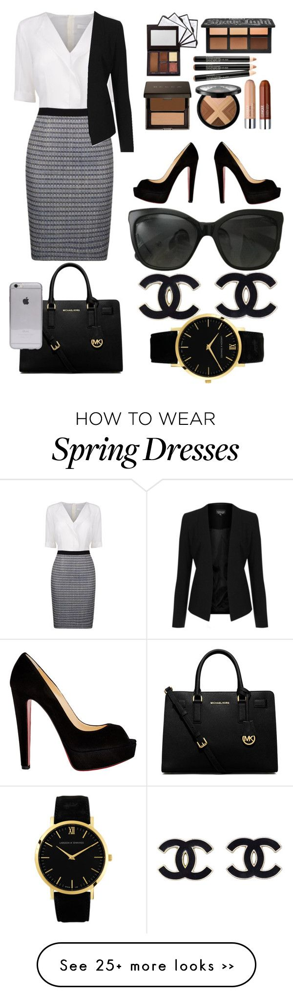 """""""The business woman"""" by londoner6401 on Polyvore featuring BOSS Black, Topshop, Christian Louboutin, MICHAEL Michael Kors, Chanel and Larsson & Jennings"""