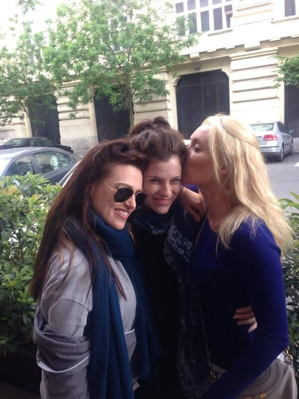 Katie Mcgrath with the ladies of Dracula during a break in filming - photo @JackLouisFox on Twitter