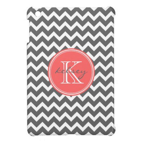 Charcoal Gray and Coral Chevron Custom Monogram iPad Mini Case