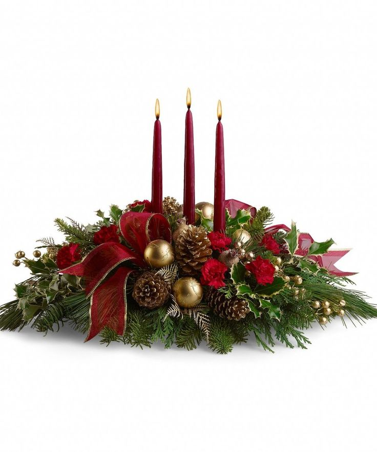 Three Candle Centerpiece  http://www.allensflowers.com/christmas/Three-Candle-Centerpiece