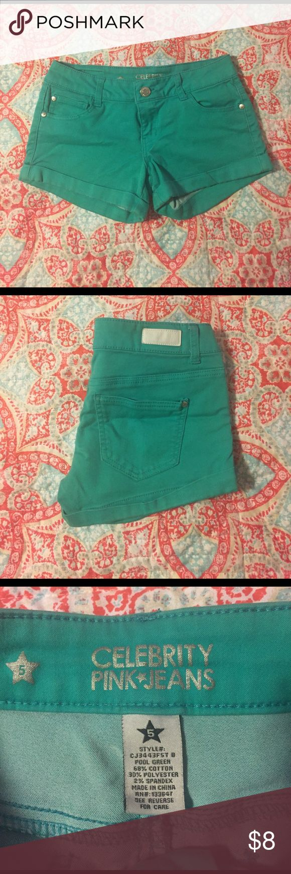 Celebrity Pink Shorts-Teal Very Soft Celebrity Pink Teal Shorts. Size 5. Only worn a couple times. Celebrity Pink Shorts