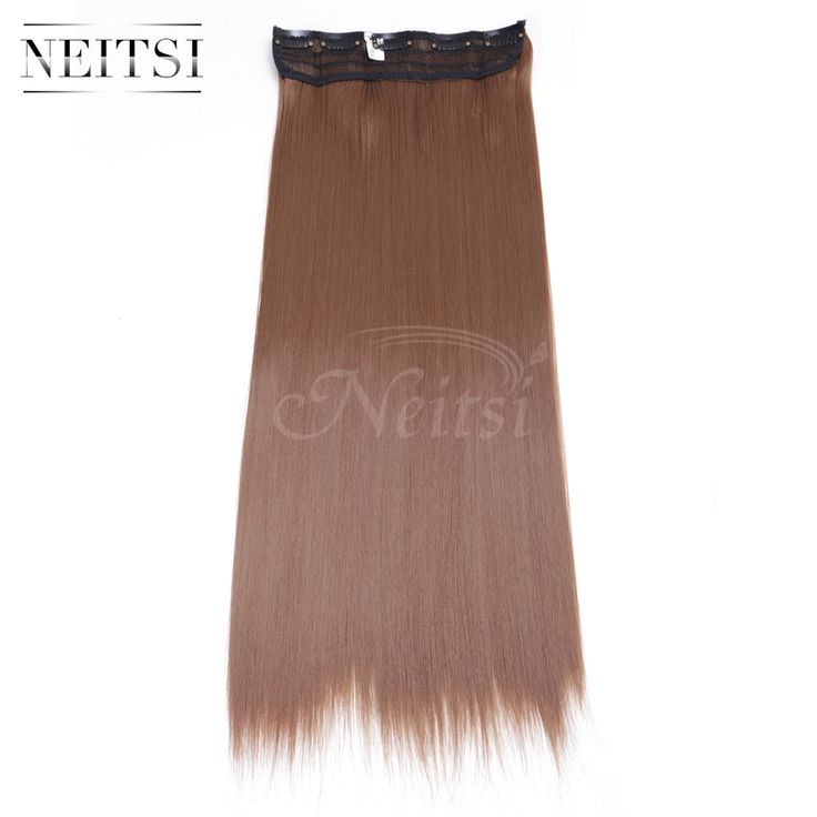"Neitsi 22"" 12# 5Clips Synthetic Clip In On Fake Hair Weft Extensions Straight Long Braiding Hairpiece For Women Fast Shipping"