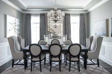 Beautiful Gray - traditional - Dining Room - Chicago - Kristin Petro Interiors, Inc. Looks very snowy!
