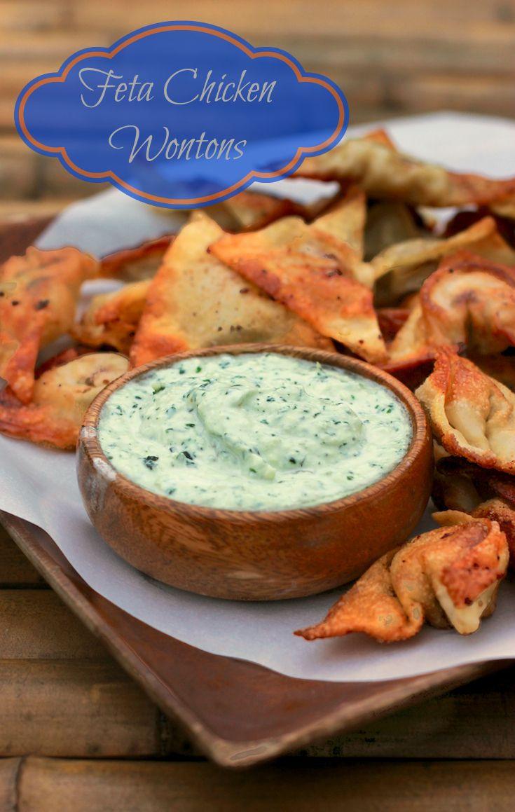 Feta Chicken Wonton Appetizer With Dill Yogurt Sauce #PotsanPans #AppetizerWeek | Makobi Scribe