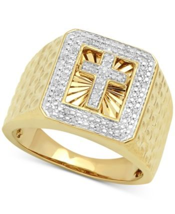 fcbb9166f3fa2 Men's Diamond Cross Ring (1/10 ct. t.w.) in 18k Gold-Plated Sterling ...
