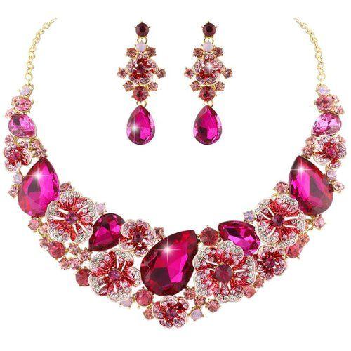Ever Faith österreichischen Kristal Schmelz Kamelie Blume elegant Halskette mit Ohrring Anhänger Schmuck-Set pink Gold-Ton N03806-5