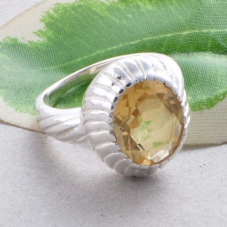 CITRINE CUT STONE  SOLID 925 STERLING SILVER STONE RING JEWELLERY 5.46g R01552 #Handmade #RING
