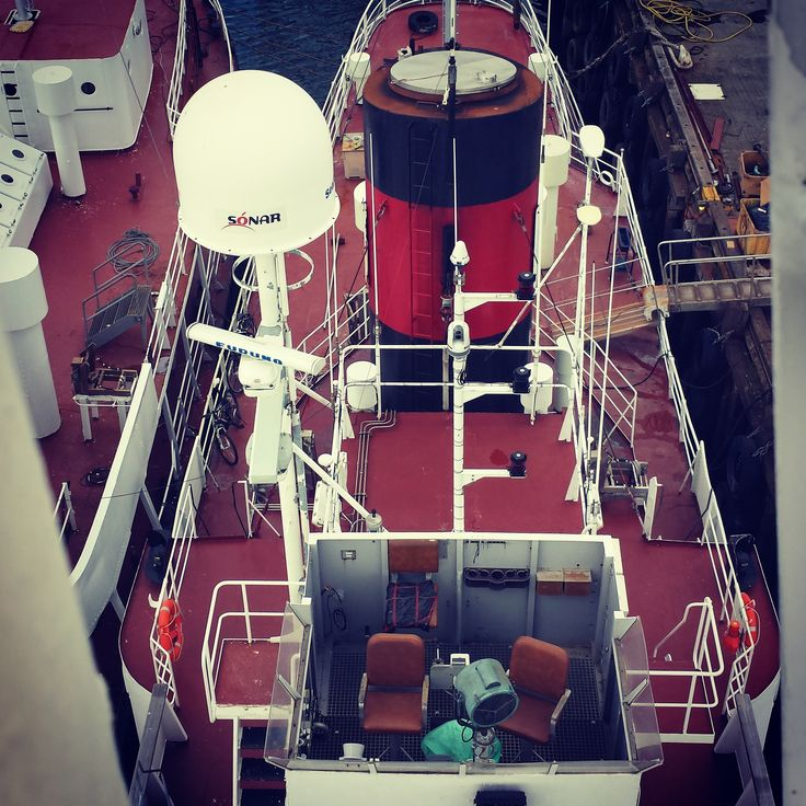 view from crow's nest of whaling vessel Hvalur 8 with sister ship Hvalur 9 laying alongside.