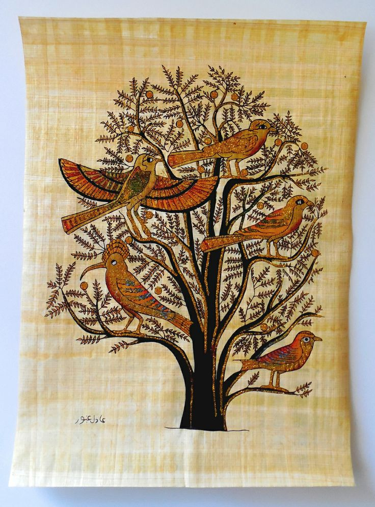 Tree of life ancient egyptian papyrus painting ancient for Egyptian fresco mural painting