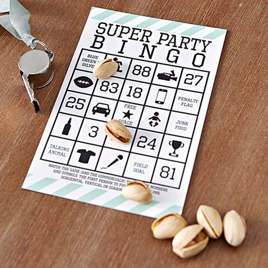 Keep fans on the edges of their seats all party long with homemade bingo cards. The rules are easy-peasy: Watch the Super Bowl (and the commercials) for appearances of the numbers and symbols on your card. Use pistachios or other fun party nuts as markers.The first person to fill a row wins. (Design by Studio DIY)/