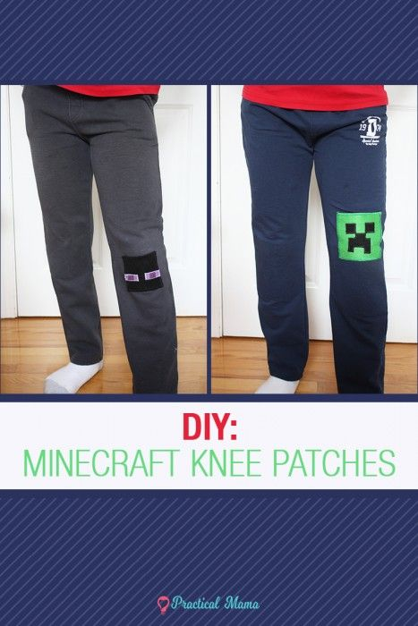 Simple, no-sew minecraft knee patch for kids' pants using felt fabric and iron-on heat bond with free pattern printable.