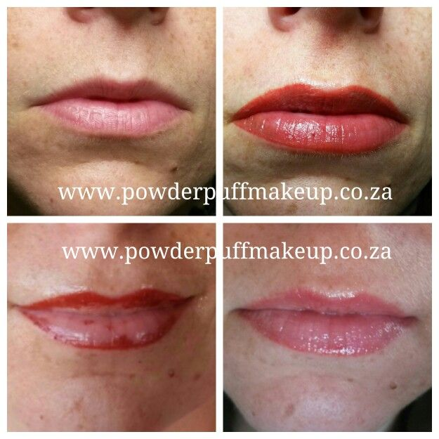 permanent full lip colour before directly after during
