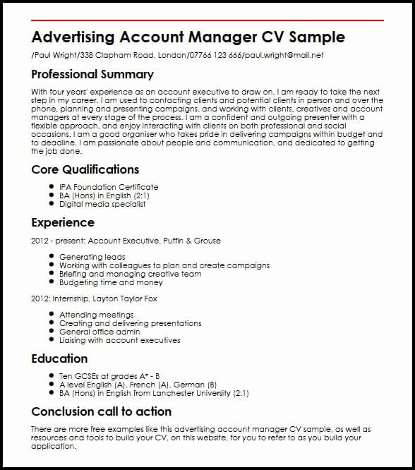 Advertising Account Executive Resume Best Of Advertising Account Manager Cv Sample Executive Resume Account Executive Job Resume Samples