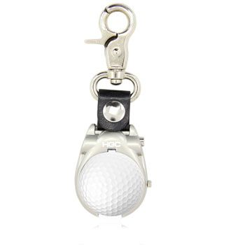 Golf Ball Shape Clip-On Watch with features like golf clip on, pops open, plastic golf ball shell, keychain, front print for small logo, back print for big logo and uses such as watching time.  More Info: http://avonpromo.com/golf-ball-shape-clip-watch-p-6770.html