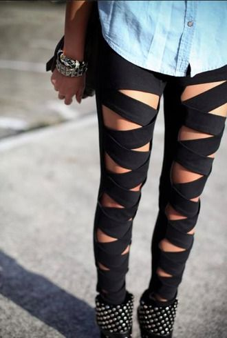 $50 Cool Street Style ASOS Black Cut Out Strip Pants And Silver Embellished Black Boots
