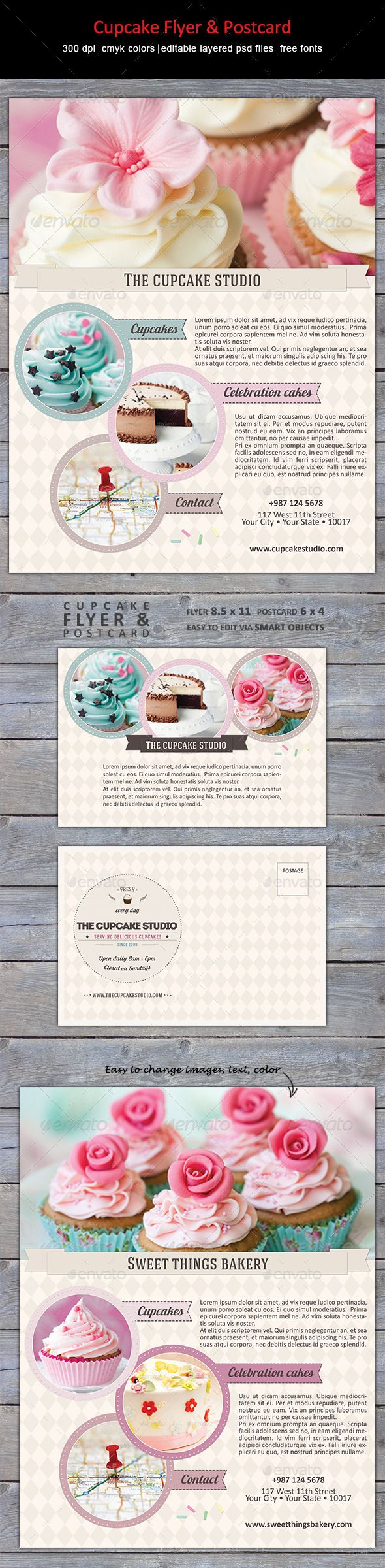 Creative, trendy flyer and postcard for cake, cupcake bakery or studio.