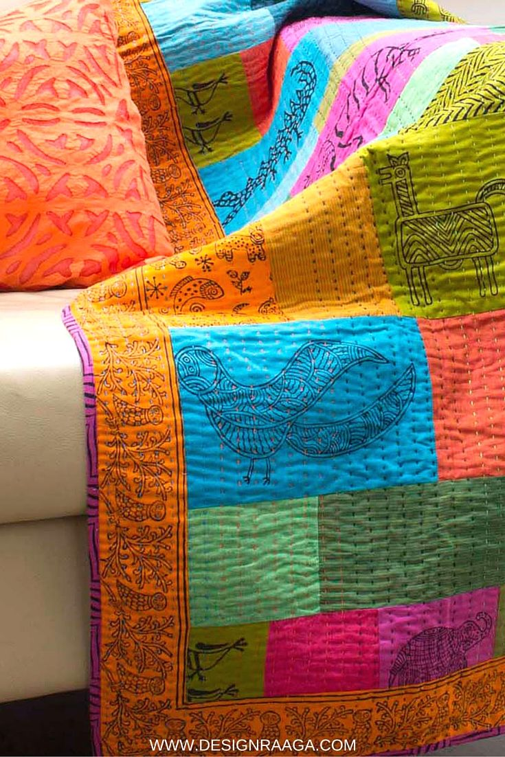 Stunning kantha lap quilt can be thrown over your sofa to add an ethnic touch to your decor | handmade | Fairtrade