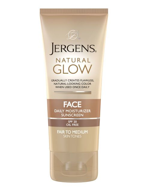 The 10 Best Drugstore Moisturizers With SPF: FOR A GRADUAL TAN: Jergens Natural Glow Face Daily Moisturizer Sunscreen ($8.49) lets you build a healthy, sunny glow without the scary sun damage. Plus, it doesn't have that icky self-tanner smell.