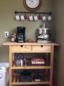 Coffee cart for the espresso machine, coffee pot, and all the fixings.
