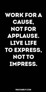 #inspiration #quote / WORK FOR A CAUSE, NOT FOR APPLAUSE. LIVE LIFE TO EXPRESS, NOT TO IMPRESS.