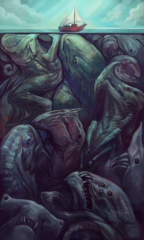 """DO NOT PUT YOUR HEAD UNDER THE WATER! """"Kaiju"""", art by Julie Dillon. http://juliedillon.deviantart.com/"""