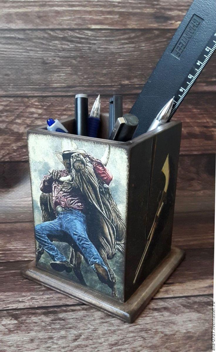 """Купить """" Ковбойская"""" Карандашница - Декупаж, карандашница, мужской подарок, мужчине, ковбойский стиль, Ковбой"""