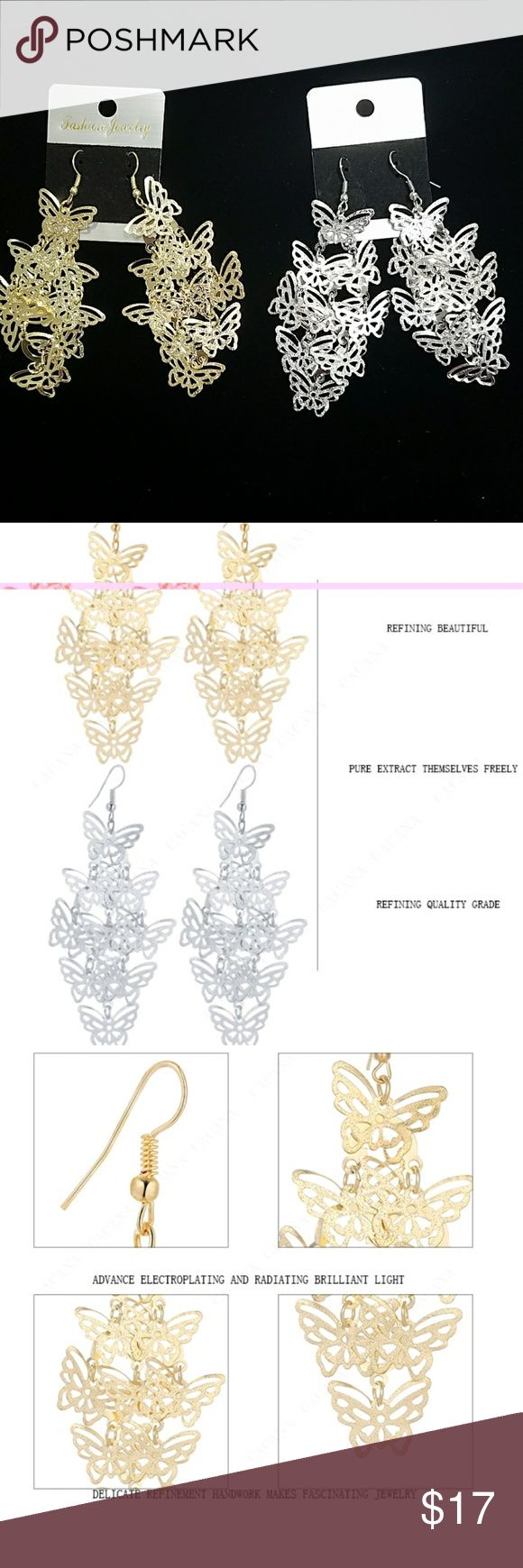 ANY 4 PAIRS FOR $15! BUTTERFLY DANGLING EARRINGS! Design consists of multiple dangling butterflies. Earrings are not heavy so they won't make you feel weighted down & no worries about stretching out your earlobes! Earrings are thin, lightweight Alloy metal. They are priced great! Bundle & save on shipping! Choose Gold or Silver in Options. Once you add 4 pairs to your bundle, submit offer for $15 & it will be accepted!  Gold stock# 124 Silver Stock # 224 Jewelry Earrings