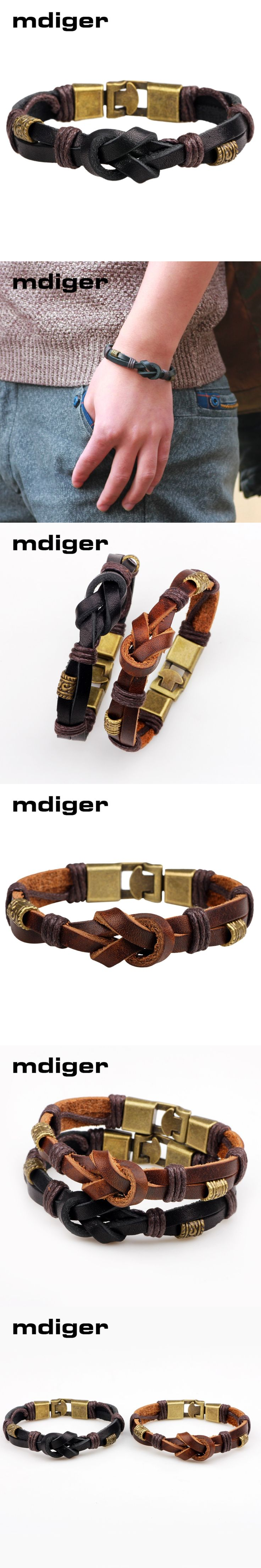 Mdiger Brand Classic Jewelry PU Black Leather Bracelet Men Brown Bracelets Vintage Accessorrioes Bracelets Bangles in Two Colors