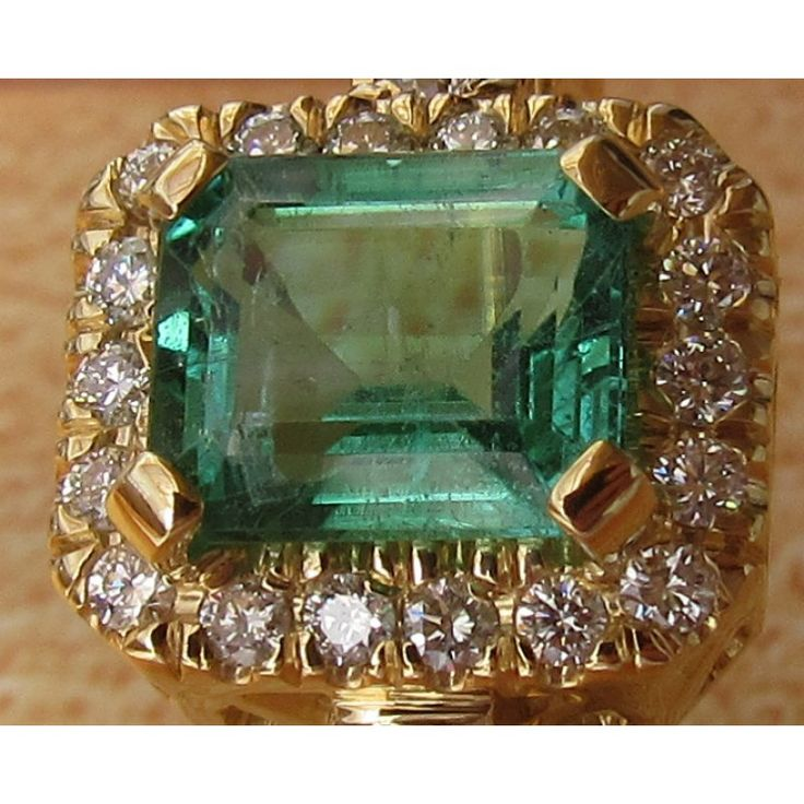 Emerald Ring, Engagement Ring, Solitaire Ring, 18K Yellow gold, May Birthstone - EMERALD RINGS