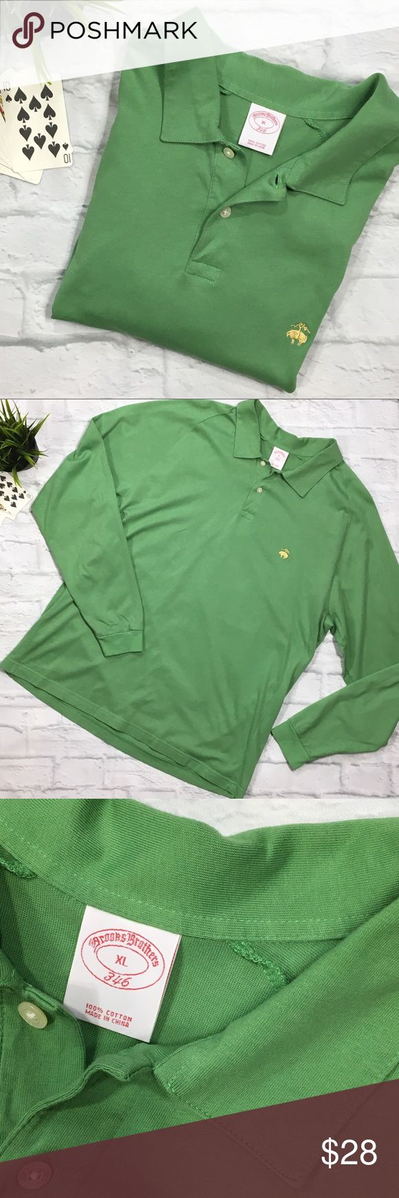 "BROOKS BROTHERS Long Sleeve Polo XL BROOKS BROTHERS 346 (J13) Men's Long Sleeve Polo Shirt Mossy Green 100% Cotton 2 Buttons at Neck  Men's SZ XL Measurements Laying Flat Under Arm to Under Arm 24"" Length 28.5"" Sleeve Length Shoulder to Cuff 31.5"" Brooks Brothers Shirts Polos"