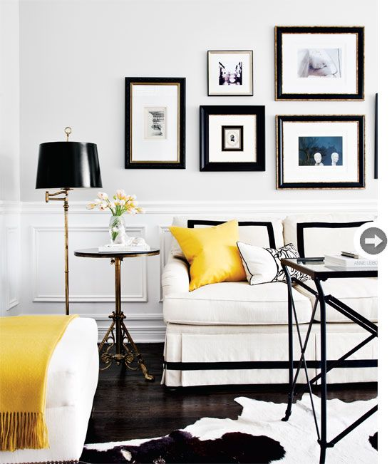 black & white gallery: Living Rooms, White Living, Black And White, Galleries Wall, Interiors Design, Black White, White Rooms, Yellow Accent, Design Home