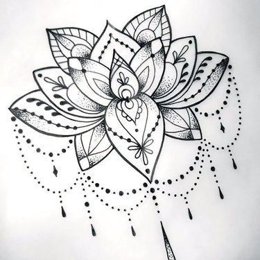 cool dotwork lotus tattoo design | tattoo art & drawings | pinterest