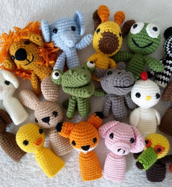 Handmade finger puppets Crocheted puppets Crocheted animal toy Forest toy set Nursery Rhyme Finger Puppets baby gifts toddler toys tell story toys