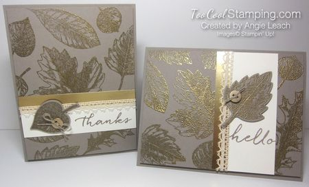 Elegant Gold Embossed Vintage Leaves Cards - stamp of the month, leaves, autumn, fall, Stampin' Up  #toocoolstamping