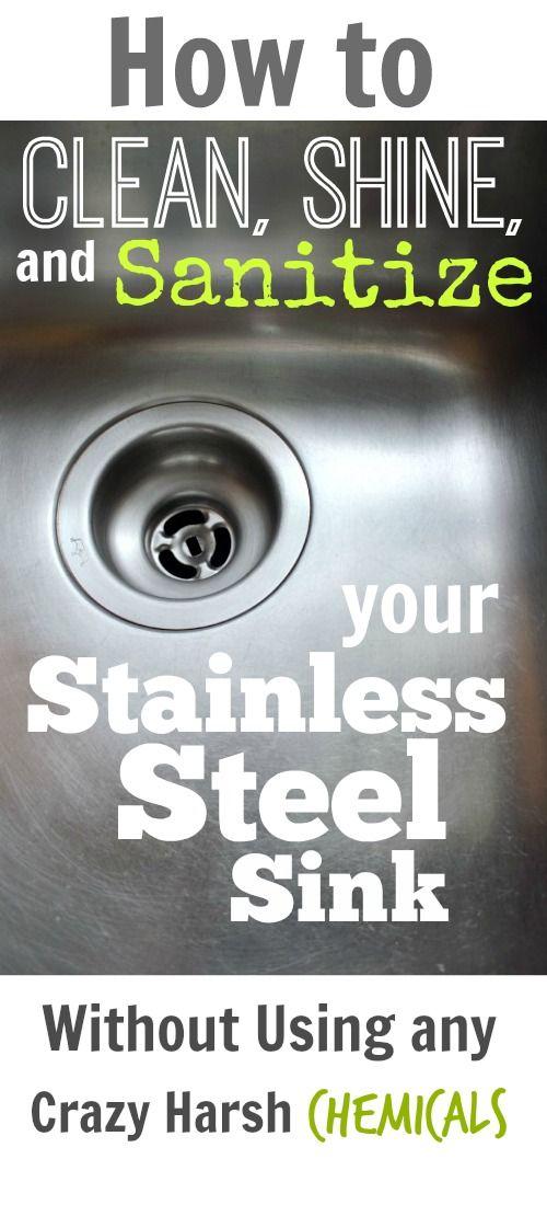 Cómo limpiar, brillo, y desinfecte el fregadero de acero inoxidable de forma natural!  ¡Impresionante!