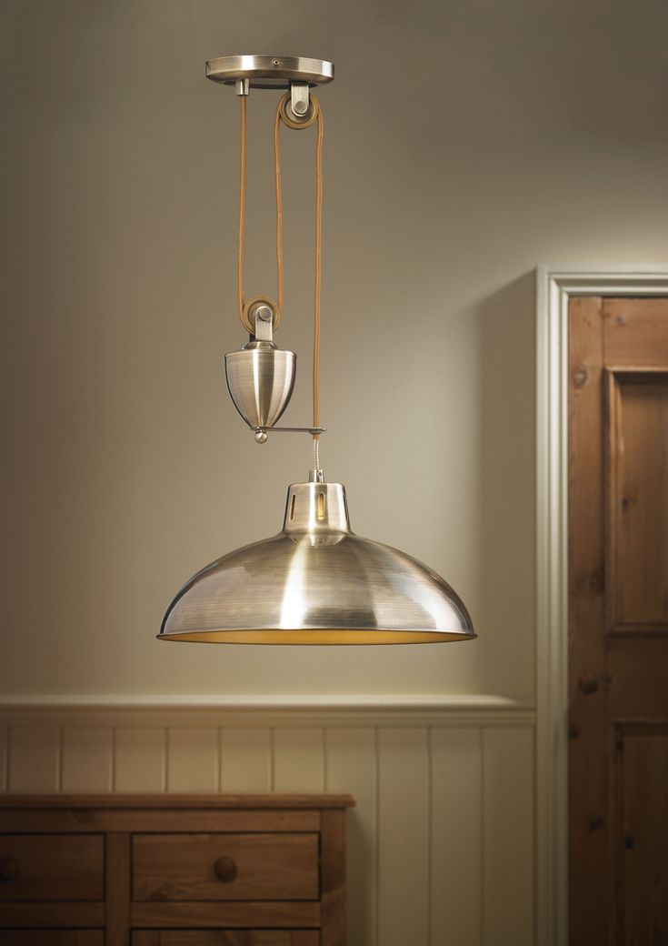 Endon polka 1 light antique brass rise and fall pendant polka ab from kes lighting one of the uks leading suppliers of online
