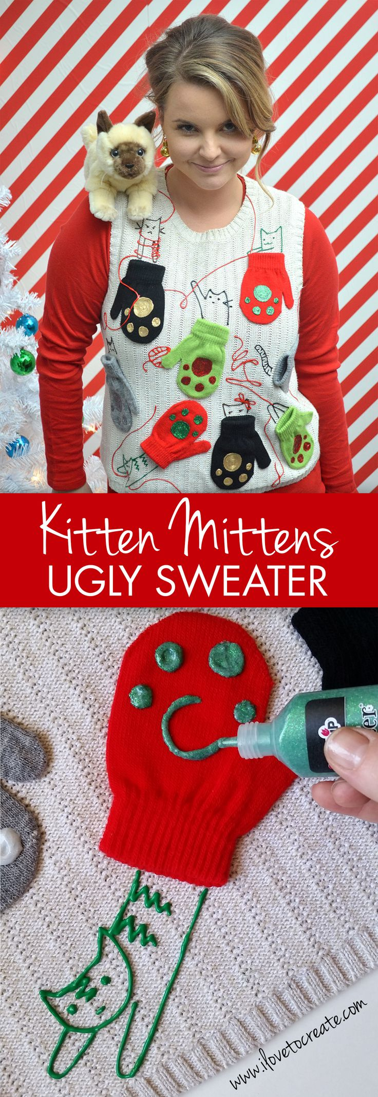 Make your own kitten mittens ugly sweater for your ugly sweater holiday party!  A great idea for that crafty cat lady in your life! It was created using Tulip Dimensional Paint and Aleene's Quick Dry Fabric Fusion to glue on the mittens!  So cute!