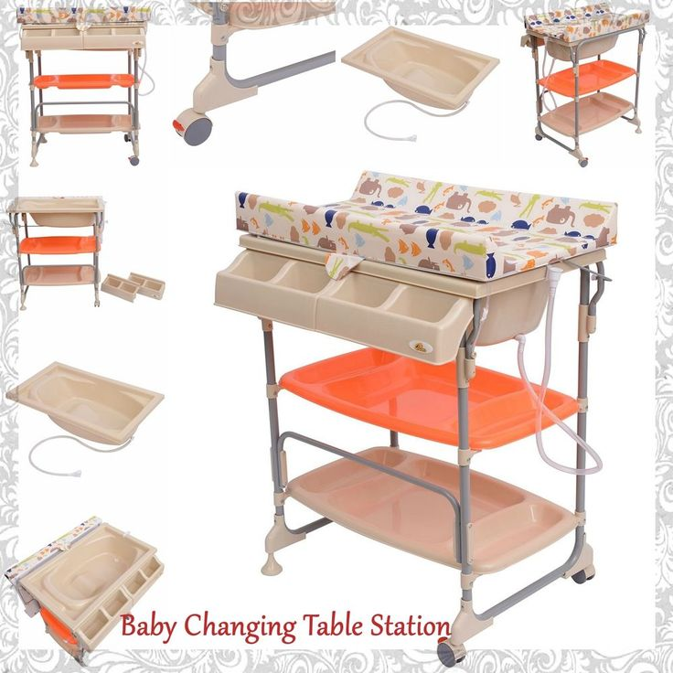Baby Changing Table Toddler Bath with Tub Changing Station Padded Storage Trays…