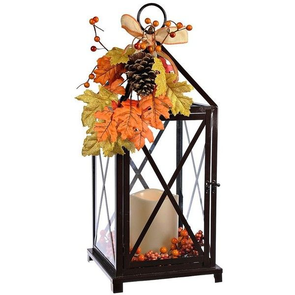 Autumn Floral LED Lantern (5450 DZD) ❤ liked on Polyvore featuring home, home decor, candles & candleholders, led candles, battery operated candles, battery powered lanterns, battery operated lanterns and battery lanterns