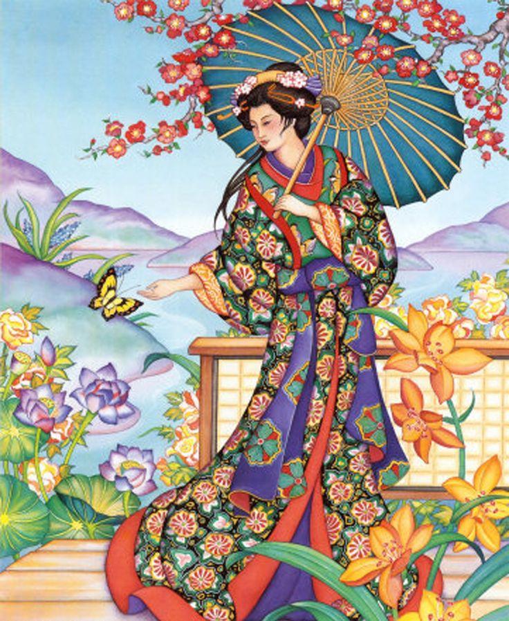 Lovely vintage signed japanese reverse on glass hand painted geisha girl wfruit basket