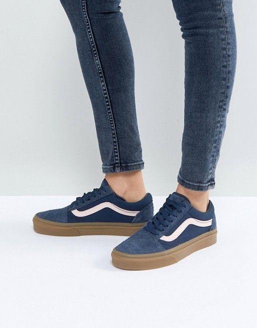 e04502e013 Vans Old Skool Unisex Sneakers In Blue Fuzzy Suede With Gum Sole Vans Daim