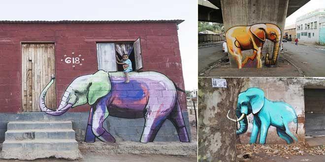 """Sokak sanatçısı Falco Fantastic Güney Afrika gezgini, duvarları ise hayvan portreleri ile süslüyor. Çalışmalarının çoğunu ise fil resimleri oluşturuyor. Yaptığı bu muazzam işler ile Afrika kıtasındaki çocuklara mutluluk götüren Falco Fantastic, özgürlüğün sembolü olan fili duvarlara resmederek """"insan gittiği yeri güzelleştirir"""" deyişine şapka çıkartıyor. Özellikle ev duvarlarına resmettiği fil resimleri ile sokaklara ve şehre ayrı bir hava katan Falco Fantastic, fil figürleri dışında vahşi…"""