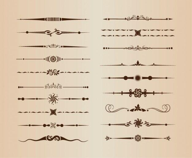 Divisores de linhas ornamentais vetor