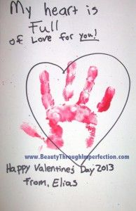 Simple valentines day craft to do with a baby or toddler. would work great with a foot print too!