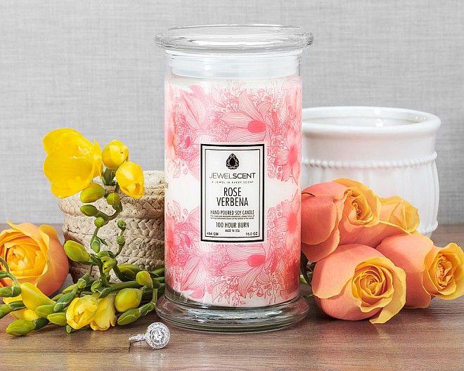 A jewel in every scent!!   Fresh and romantic, this fragrance melds notes of red apple, bergamot and dewy plum with a delicate blend of rose, jasmine, freesia and muguet, as a sweet and musky patchouli base-note finishes off the bouquet.Rose Verbena Candle is 24.99 at www.jewelscent.com/ashleynyree
