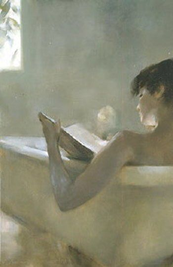 girl or woman reading in the bath