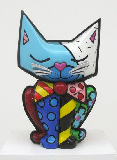 """Romero BRITTO - Cat- Sculpture - Waiting For You 2008 Acrylic and Resin 20"""" x 12"""" x 12"""" Edition of 128"""
