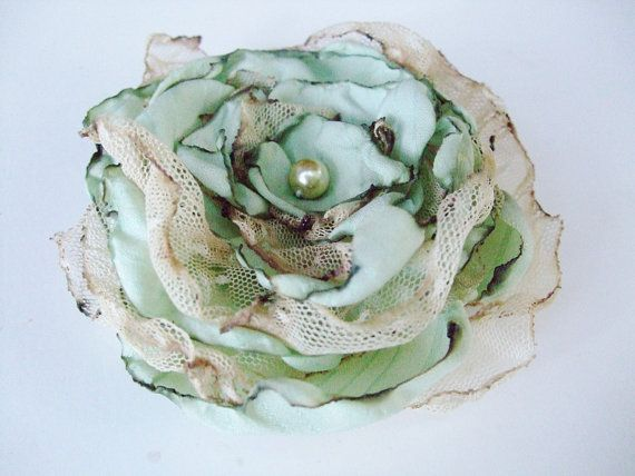 Wedding Hair Flower, Tea Stained Mint Blue Green flower, Made to order, Maternity Sash, Bridal Sash