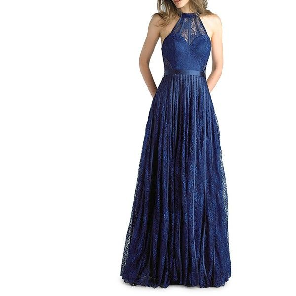 Basix Women's Halter Floor-Length Gown ($273) ❤ liked on Polyvore featuring dresses, gowns, navy, navy blue ball gown, lace gown, navy lace gown, blue floral dress and navy blue dress