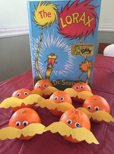 Adorable Lorax snack!  Perfect for Dr. Seuss week or Earth Day.
